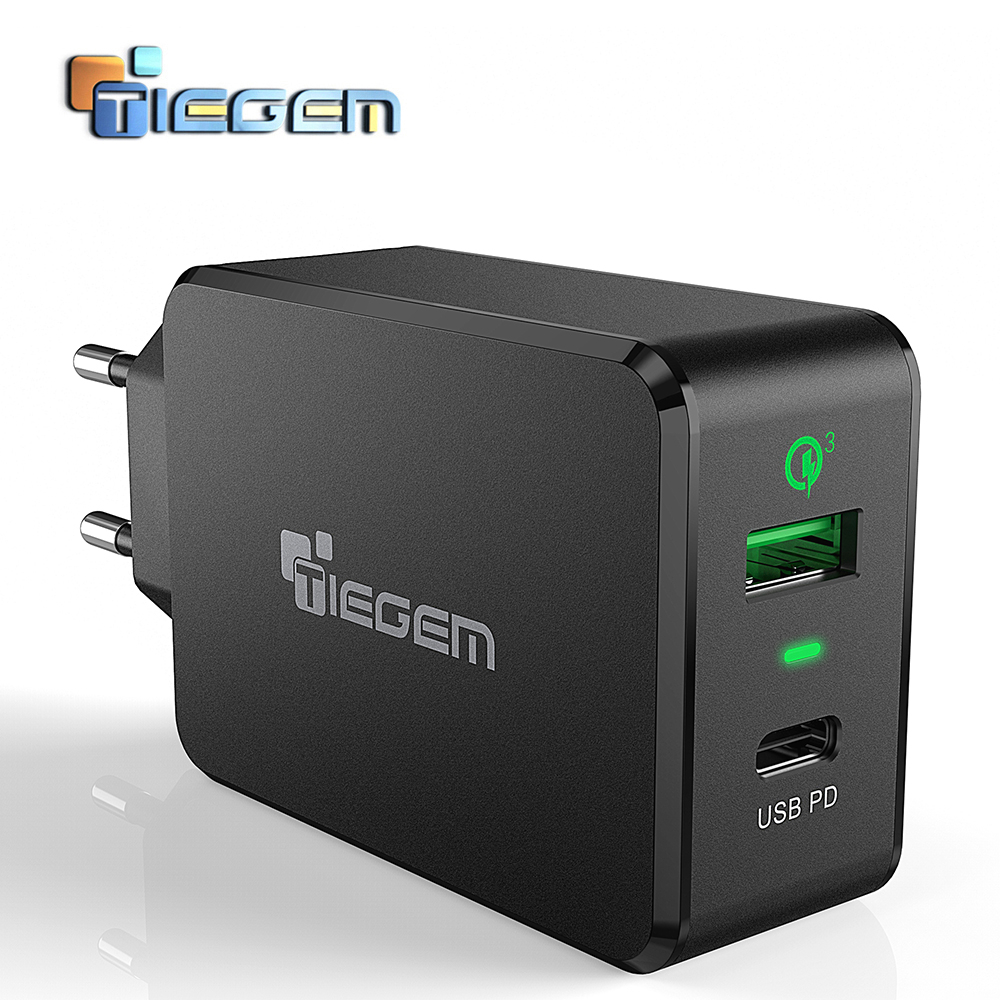TIEGEM QC3.0 USB Wall Charger Fast Type-C Universal Mobile Phone Type C PD Charger for Nintendo Switch Macbook Nexus 6P/5X