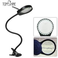 New desk Lamp Magnifier Clip on Table Top Desk LED Lamp Reading 3x 10x Large Lens Magnifying Glass with Clamp