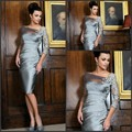2017 Mother Of The Bride Dresses Sheath 3/4 Sleeves Gray Knee Length Satin Lace Short Wedding Party Dress Mother Dresses