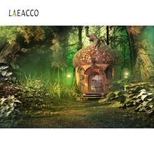 Laeacco Green Forest Tree Fairytale House Grass Light Baby Child Portrait Photo Backgrounds Photo Backdrops For Photo Studio forest fairytale knits