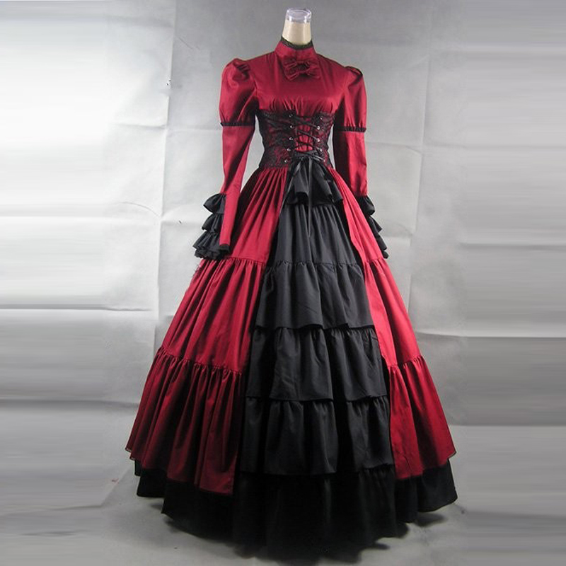 Vintage Lace Gothic Plus Size Evening Dress With Cloak A: Women Victorian Vintage Lolita Dress Ladies Evening Party