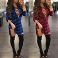 Early Spring 2017 Fashion Women Lace-up Front Retro Checkered Dress Sexy Women Deep V Neck Nightclub Party Plaid Mini Dress