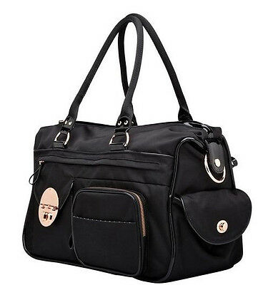 THE BAGS MIM LOVES BLACK TURNLOCK BAG LUCID BABY BAG WITH POUCH AND CHANGING MAT