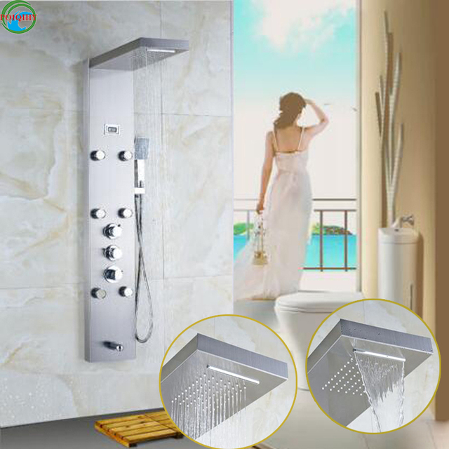 Thermostatic Brushed Nickel Shower Panel Tower Waterfall Rain W/Massage Jet  Tap Tub Filler With