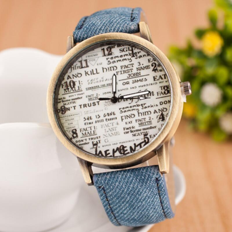 MINHIN Trendy Selling Quartz Watches Women Leather Strap Watch Personality English Letters Design Dial Round Watches Relojes