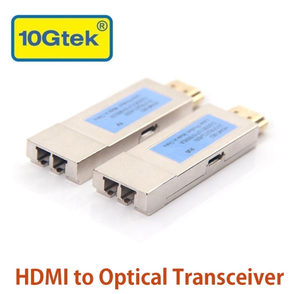 10 Gtek une Paire de HDMI à émetteur/récepteur optique Extender LC Connecteur, HDMI 1.4a Soutien, jusqu'à 300 M à OM3 fibre