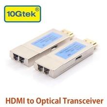 10 gtek um par de hdmi ao conector ótico do lc do extensor do módulo do transceptor, suporte de hdmi 1.4a, até 300 m na fibra om3
