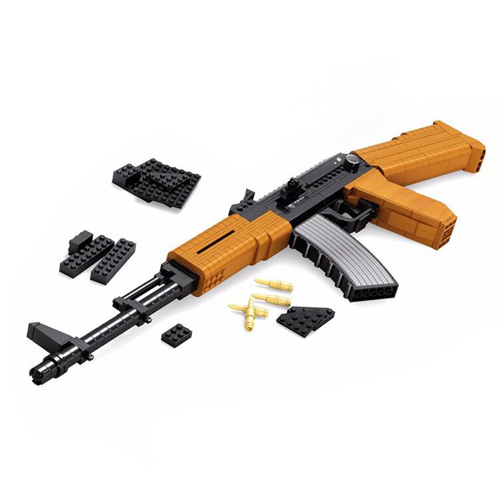 Military pistol Series automatic rifle AK47 model toy gun assembling building Bricks blocks toy for children,617 pcs/set enlighten building blocks navy frigate ship assembling building blocks military series blocks girls