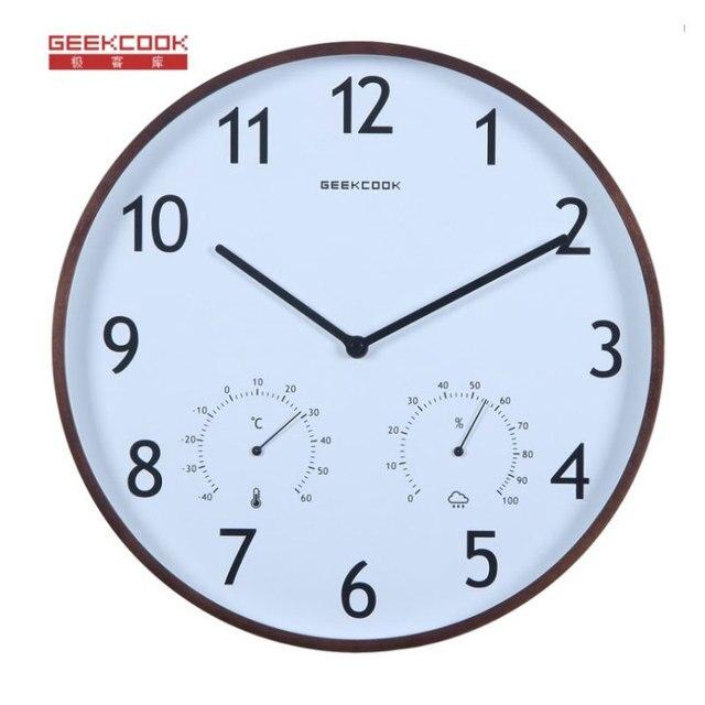 nice design quiet wall clock. Brand Simple Designer Elegant and versatile temperature humidity quiet  living room wall clocks Wooden Border