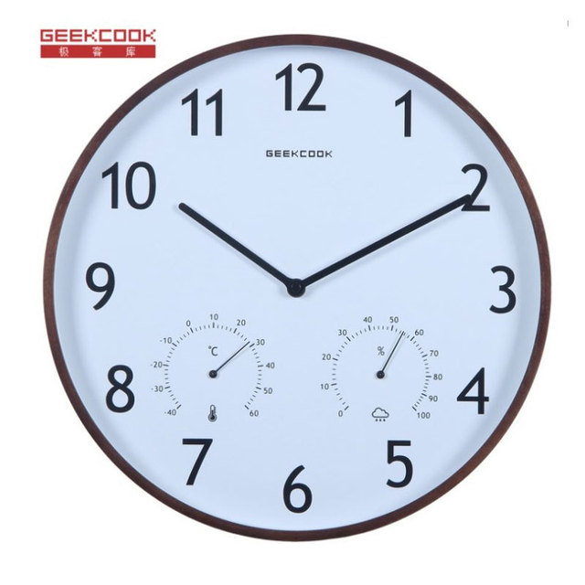 Brand Simple Designer Elegant and versatile temperature and humidity quiet living room wall clocks Wooden Border Watch study