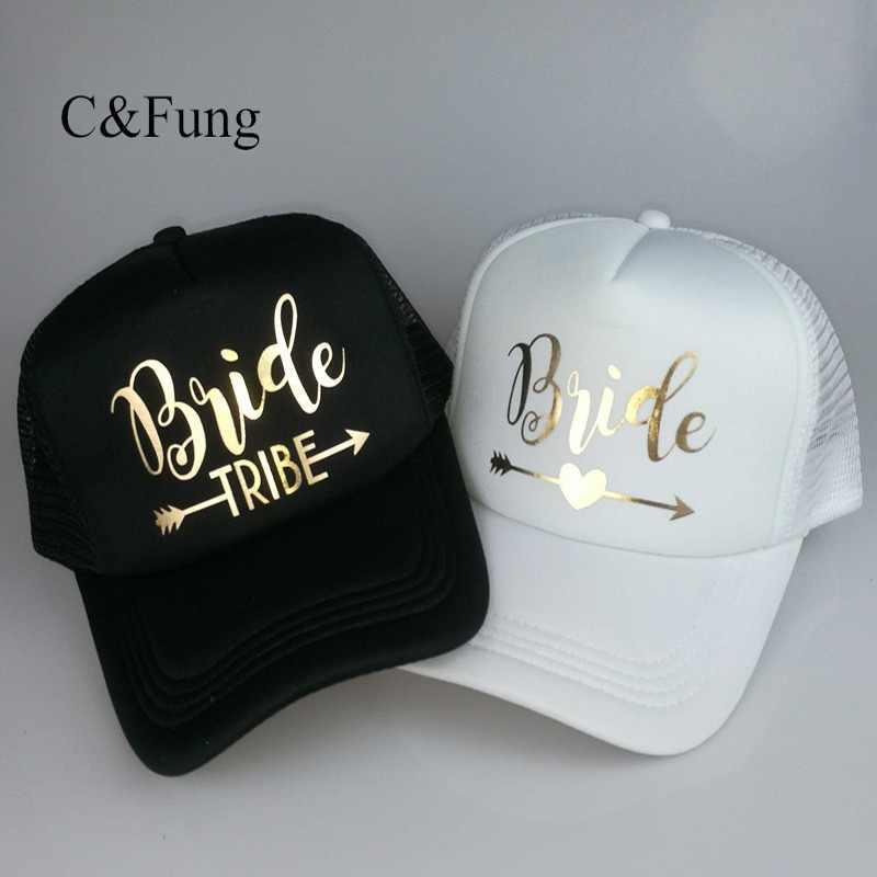 C Fung Bride Tribe Bachelorette Snapback Trucker Hat Cap Team Bride gold  letters Arrow bride to be bb8e6adceffd