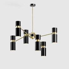Modern black LED chandelier Nordic Aluminum lighting study dining living room hanging lamp bedroom home fixtures