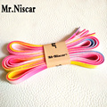Mr.Niscar 5 Pair Men Women Canvas Shoes Shoe Laces Pink Rainbow Shoelaces Flat Gradient Shoestring Polyester Shoe Strings