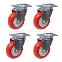 4PC Heavy Duty PU Wheel Castor Set Red Brake Swivel Fixed 3 75mm