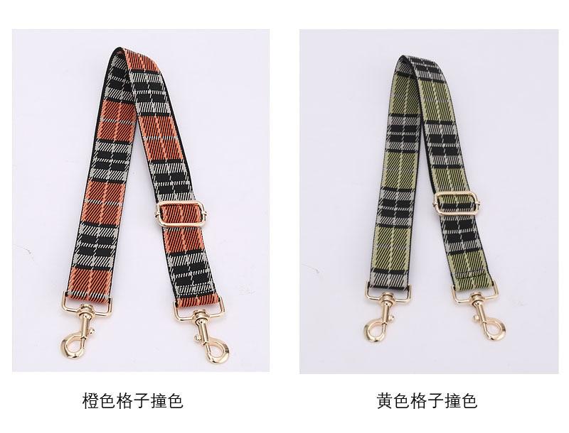 Plaid Contrast Bag Strap Accessories For Women Adjustable Shoulder Handbag Straps Decorative Handle Replacement Ornament Orange
