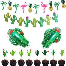 Cactus Cupcake Toppers Glitter Flamingo Banner Garland Fiesta West Cacti Llama Hawaii Theme Birthday Party Supplies