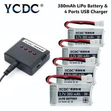 4 шт./лот 3,7 V 380-1200 мА/ч, 25C Lipo Батарея H107 H107C Syma Cx-30+ X4 Зарядное устройство для Syma X5SC X5SW Квадрокоптер с дистанционным управлением Drone