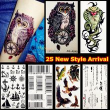 1PC Fashion Flash Temporary Tattoo Sticker Men Women Arm Shoulder Makeup Fake Tattoo Owl Compass Rose