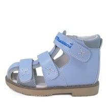 цена на Children closed toe orthopedic footwear baby boy leather blue sandal shoes orthopedic shoes for kids
