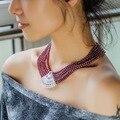 Naturais granada vermelho gargantilha colar de zircão cúbico com revestimento de ouro multicamada Beads Strand corrente no pescoço
