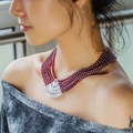 Red Natural Garnet Choker Necklace cubic zircon with Gold Plating Multilayer Beads Strand neck Chain
