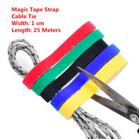 1PCS MT022 Magic Tape Strap Cable Tie Width 1 Cm Length 25 Meters Nylon Strap Hooks
