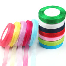 5/8 inch Silk Organza Lace Ribbon 15mm Width Transparent Ribbons Diy Craft Party Wedding Home Decoration 50yards/roll