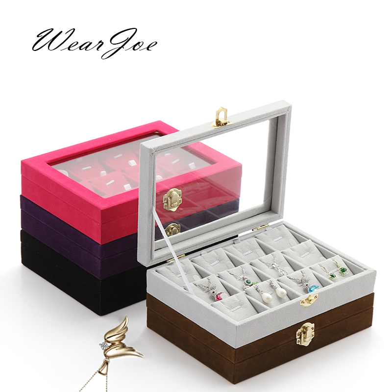 Superior Glass Cover Locket Pendant Storage Tray And Packaging With 12 Sheets Necklace Chain Jewelry Display Stand Holder Casket