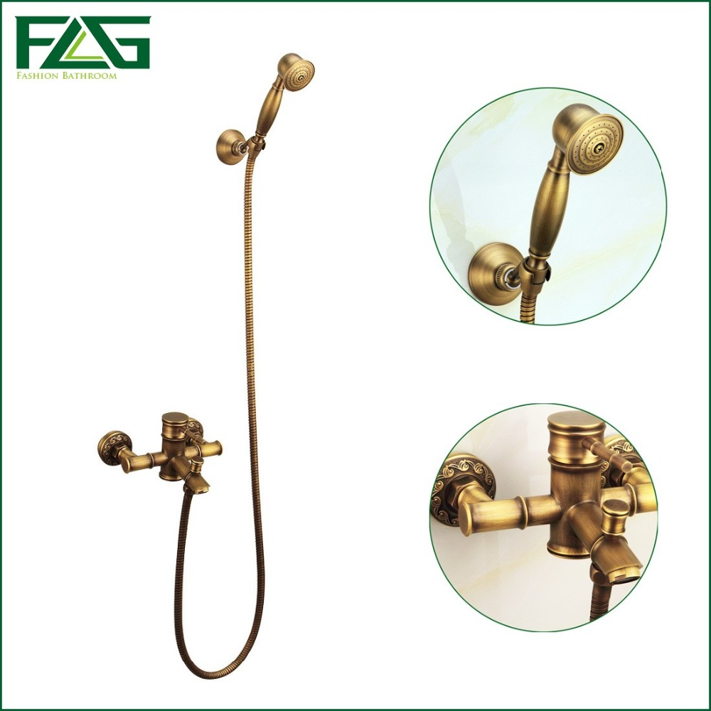 FLG Free Shipping Bamboo Antique Brass Rainfall Bamboo Shower Faucet Set +Bath Tub Mixer Tap+Single Handle Shower Wall Mounted 8 inch rainfall bathroom shower faucet set antique brass finish wall mounted single handle mixer tap handheld shower wrs059