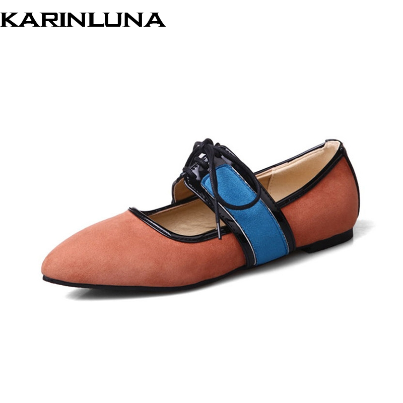 KARINLUNA 2018 Spring Autumn Fashion Sweet Mary Janes Flats lace-up Patent Shoes Woman Big Size 34-43 Mixed Color Women Shoes new 2017 spring summer women shoes pointed toe high quality brand fashion womens flats ladies plus size 41 sweet flock t179