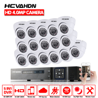 HCVAHDN CCTV Camera DVR System kit 4MP 16channel HDMI 1080P 5MP 4MP AHD DVR NVR Phone View Dome CCTV Security Camera System