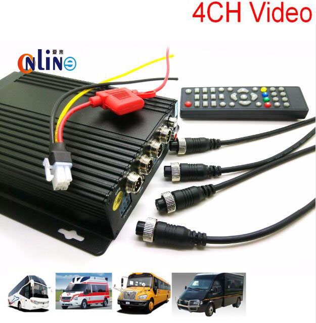 MINI Realtime auto Car Mobile DVR 4CH Video/Audio Input H.264 AVI with IR Remote Controller Encrption