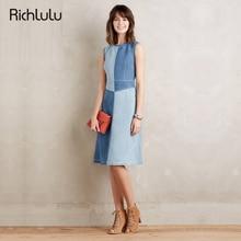 RichLuLu Осень Винтаж Женщин Chic A-Line Dress Street Contrast Zipper Dress Высокая Талия Экипаж Шеи Без Рукавов Тонкий Midi Dress