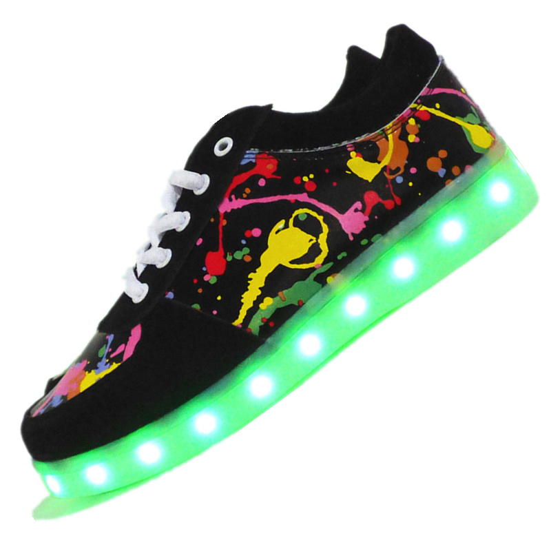7ipupas Graffiti Color Led Glowing Shoes For unisexe men Femme Feminino Casual Luminous Shoes With Usb