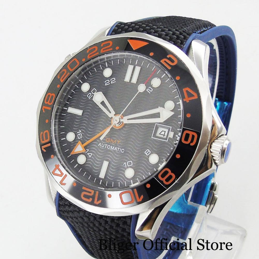 BLIGER Black Luminous Marks GMT Function 41mm Self Winding Men's Watch Automatic Movement Rubber Strap
