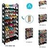 Goplus Adjustable 30 Pair DIY 2 4 6 8 10 Layer Shoe Rack Space Saving Storage