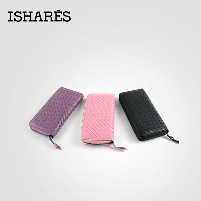 ФОТО ISHARES High quality sheep leather handmade woven long wallets ladies coin card purse fashion zip long wallets for female IS6001