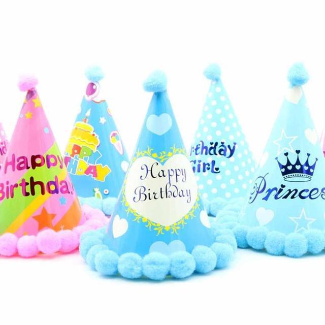 Funny Kids Birthday Hats Lovely Letter Print Pompoms 1 Year Caps Boy Girl Party Festival Bone Gorras Bonnet Z30