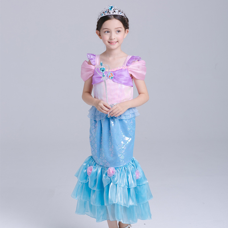 2018 new Baby Girls Princess Clothes The Mermaid Ariel Kids Girls christmas party Dresses Princess Cosplay Halloween Costume the pony mad princess princess ellie s christmas