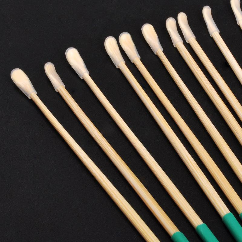 10pcs/set Bamboo Wooden Ear Cleaner Spoon Anti-Skid Green Rubber Handle Earpick Earwax Removal With Soft Silicone Cover
