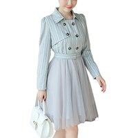 2016 الصيف الخريف الكورية أزياء المشارب المطبوعة اللباس ضئيلة قميص طوق وهمية اثنين الربط شبكة تول توتو اللباس الفساتين