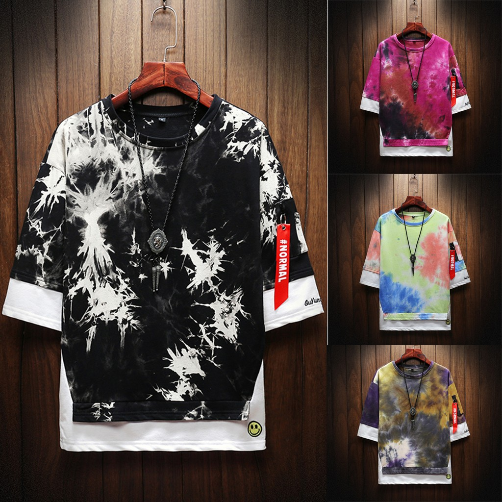 2019 New Hot Men Summer New Style Fashion Printed Tie-Dyed Fake Two Comfortable Top M-5XL Instyle Vetements de mode pour hommes 1