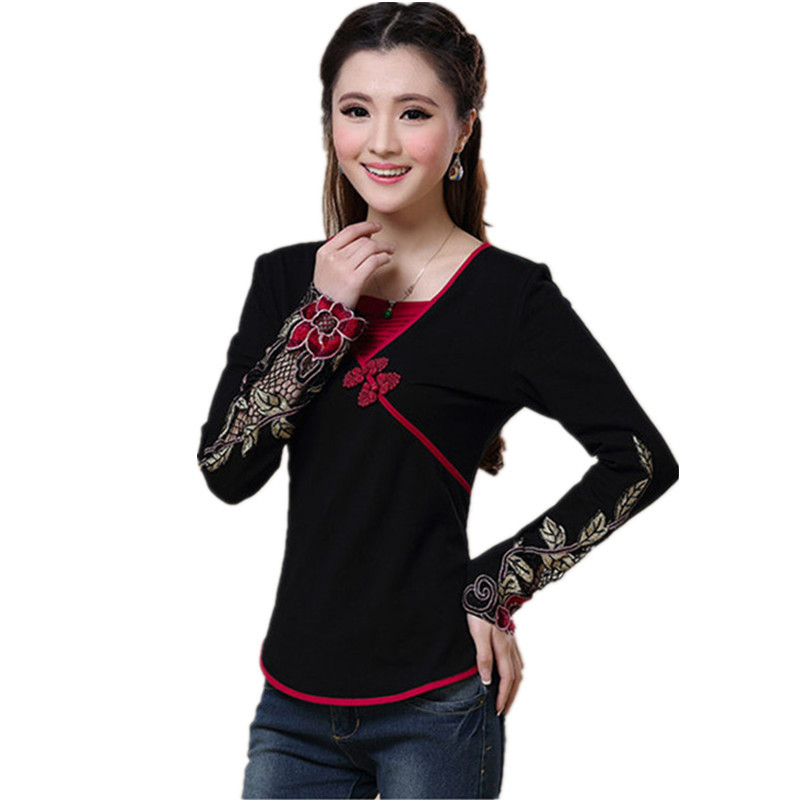 Spring Autumn Women T Shirt Embroidery 2019 Blusas Long Sleeve 5XL Plus Size Quality Body Tops Tee Female Cotton T-Shirt Clothes
