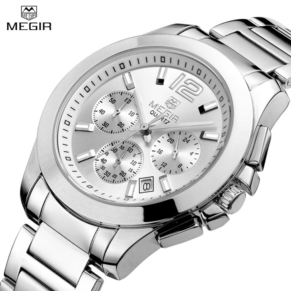 MEGIR Women Casual Quartz Watch Chronograph & 24 Hours Function Engraved Dial Watches Women Jewelry relogios feminino