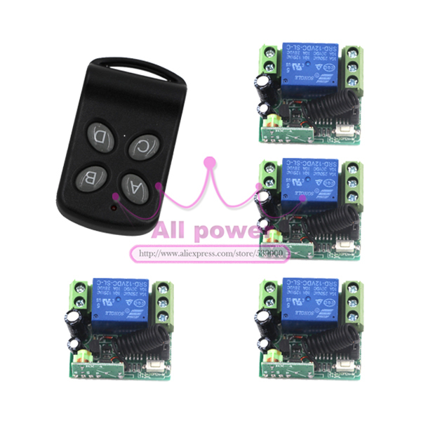 DC 12V 1CH Digital Wireless Remote Control Switch Relay Set 4 Receiver 1Transmitter ON OFF Fixed Code For Light Lamp Garage Gate 2pcs receiver transmitters with 2 dual button remote control wireless remote control switch led light lamp remote on off system