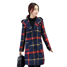 2016 New Aautumn & winter long Tartan coat female Single-breasted Slim was thin coat female tide Woolen coat