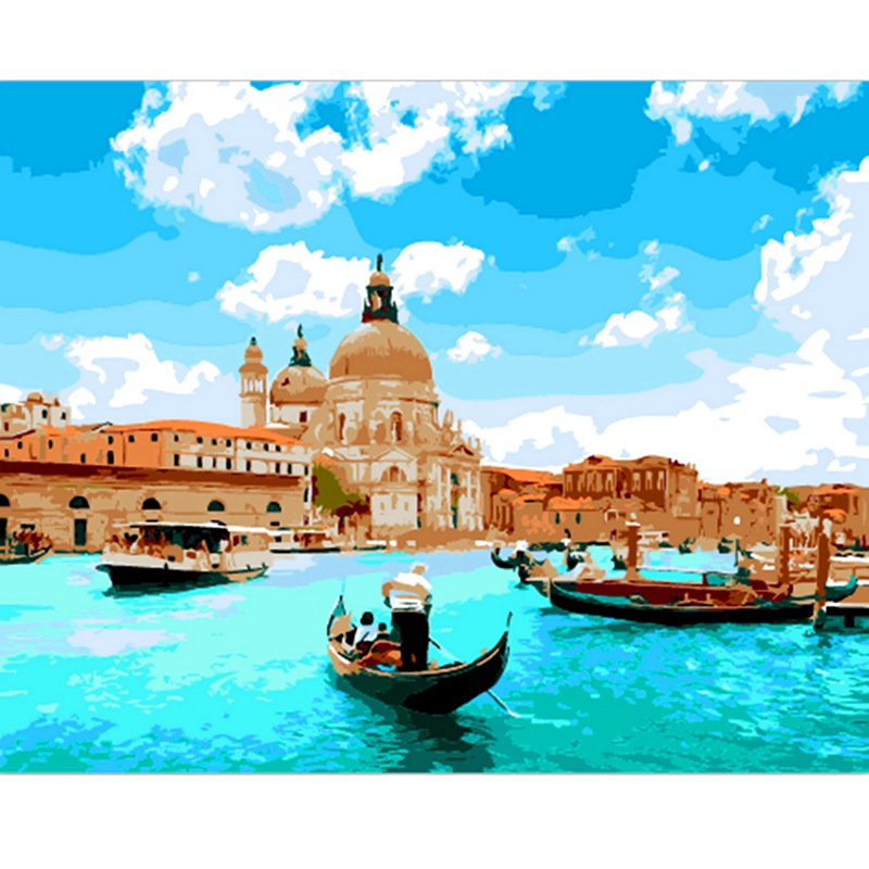Unique Gift Beauty Venice Seascape DIY Painitng By Numbers Home Wall Art Canvas Painting Hand Painted Picture 40x50 Cm