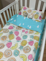Fashion Europe Bobo Chose 3 Pieces Crib Baby Bedding Set Print King Fruits Animals Tree Very