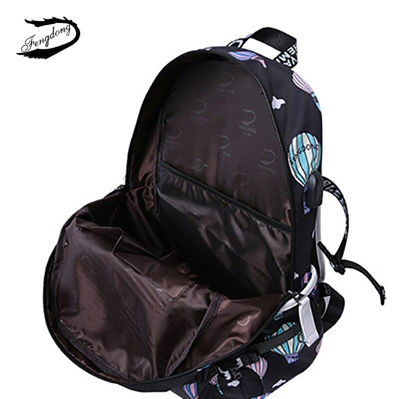 FENGDONG Woman Cute Printing Nylon Bookbag USB Charging Travel Laptop Backpack Durable School Bag For Teenage Kids Work Bagpack in Backpacks from Luggage Bags