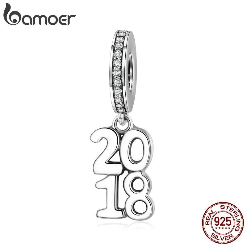 BAMOER 2018 nuevo 100% 925 plata esterlina 2018 del alfabeto cuelgan encanto pendiente joyería apta del encanto del collar de la pulsera SCC642